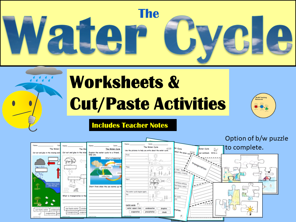 The Water Cycle: Worksheets and Cut and Paste Activities and Jigsaw Puzzles (Colour/b&w)