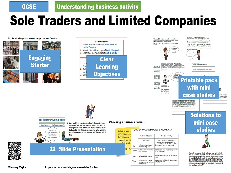 Sole Traders and Limited Companies - Types of Business Organisation - GCSE Full Lesson