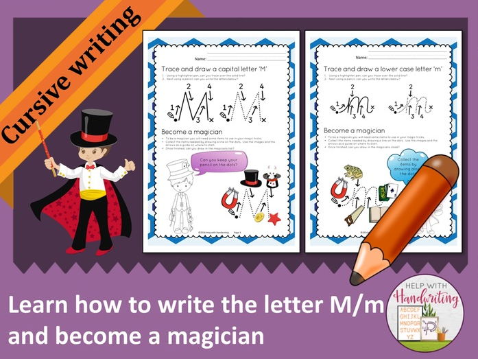 Learn how to write the letter M (Cursive style) and become a magician