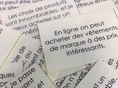 French GCSE online shopping internet  _  card sort,  longer writing, vocabulary and translation