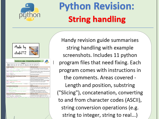 Python revision and activities - String handling