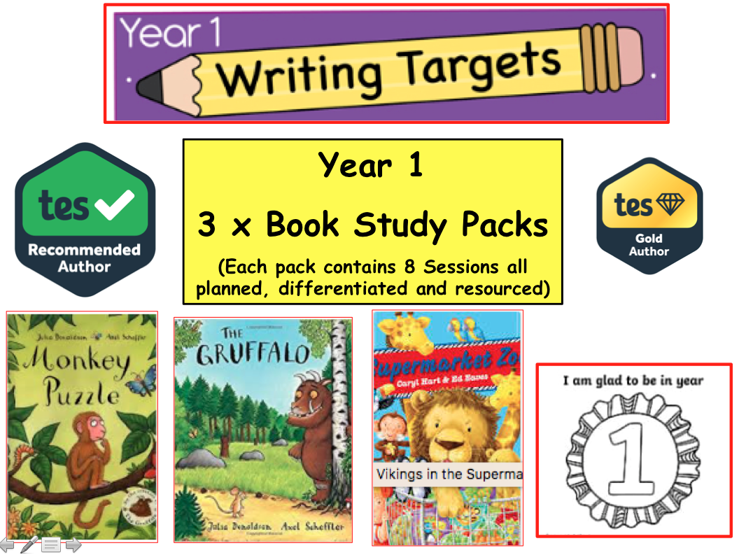 3 x Year Y1 / Y2 Literacy Book Study Resource Pack Gruffalo, Creative Writing, Fiction, literacy Year 1)