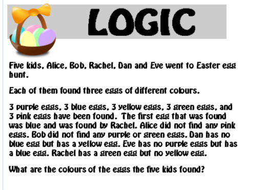 Easter Logic Puzzle 2