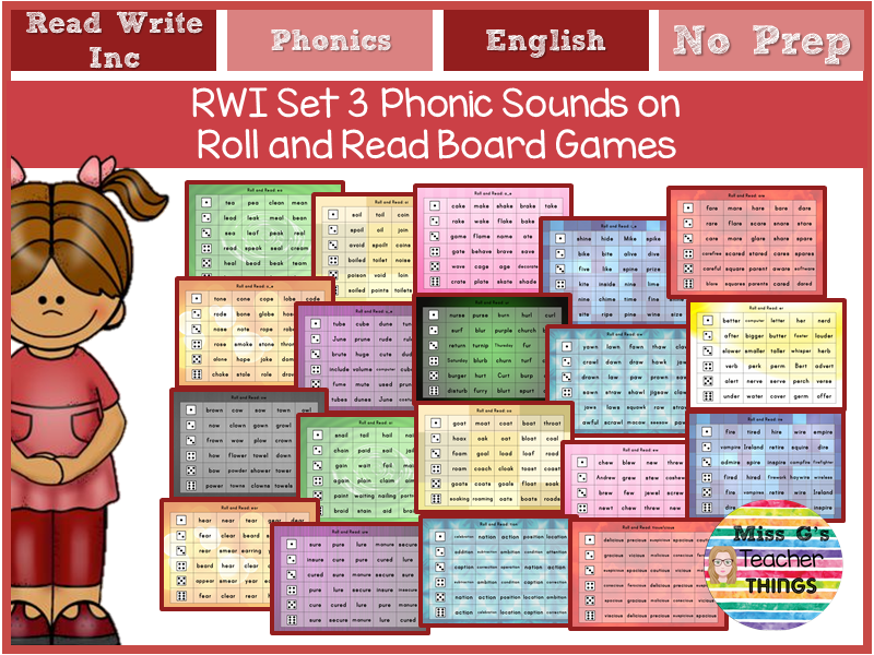 Roll and Read Read Write Inc (RWI) Set 3 sound mats/games reading English Fun Activities