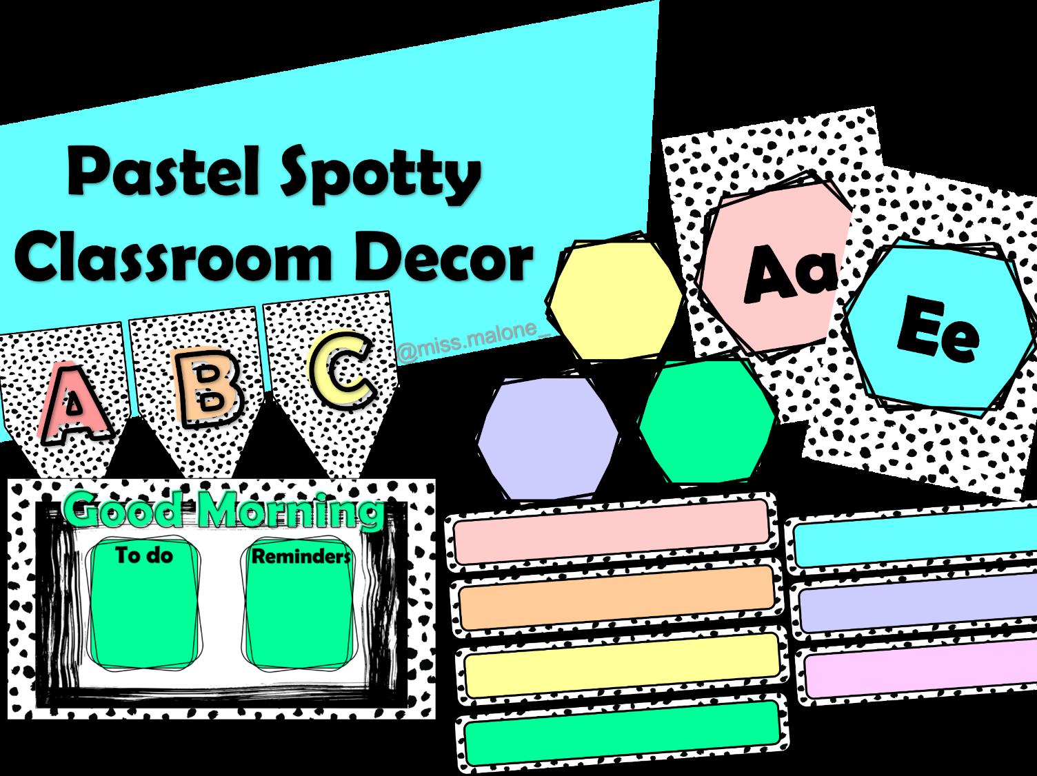 Pastel Spotty Classroom Decor Bundle