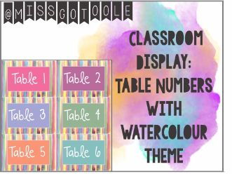 Table Numbers - Classroom Display