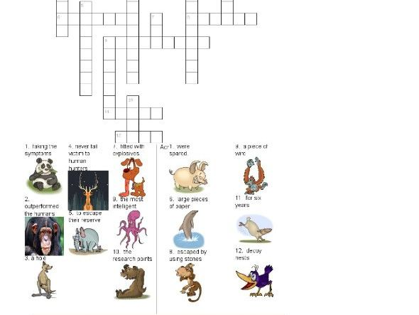 Animals Outsmarted Humans. movie crossword worksheet