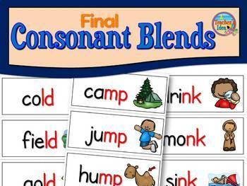 Phonics Flashcards - Final Consonant Blends