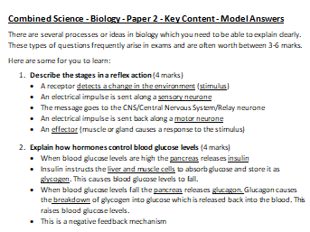 AQA Combined Science Biology Paper 2 Sample Questions and Model Answers