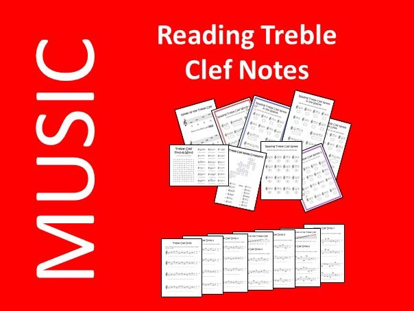 Reading Treble Clef Notes - 16 Printable/Digital Worksheets - Online/Distance Learning