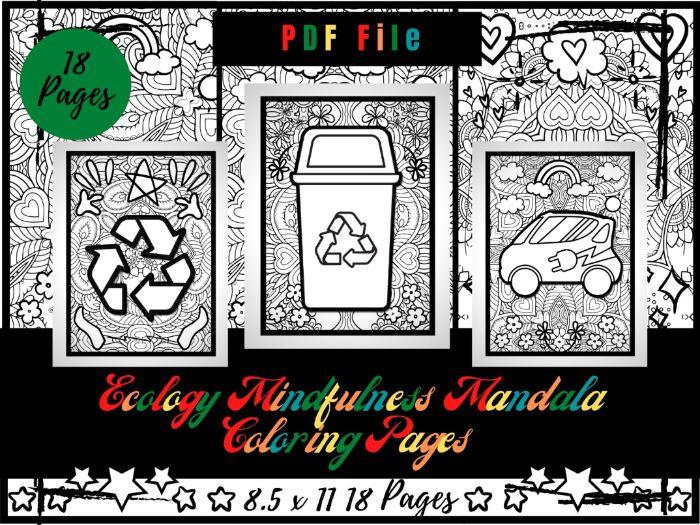 Ecology Mindfulness Mandala Colouring Pages, Environment Printable Sheets PDF