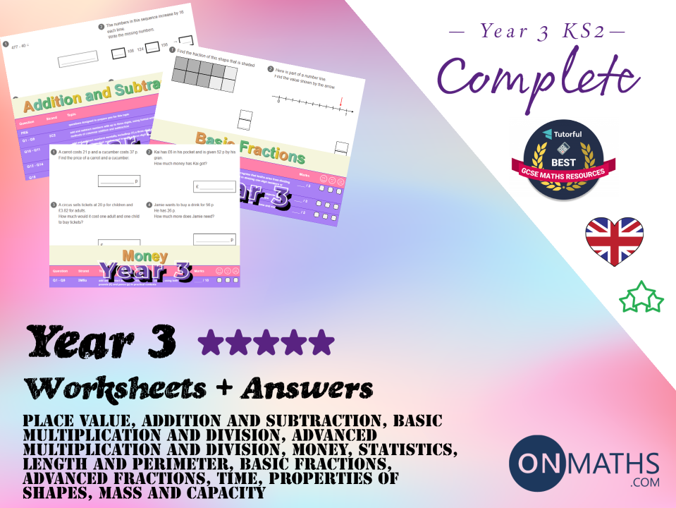 Complete Year 3 Worksheet and Answers Pack (Key Stage 2)