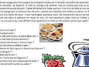French text about eating habits