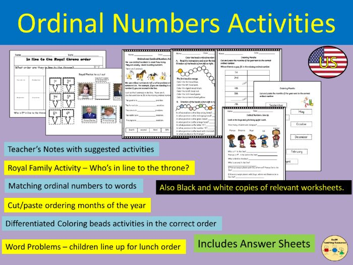 Ordinal Numbers and Words Worksheets Activities Class and Home Work