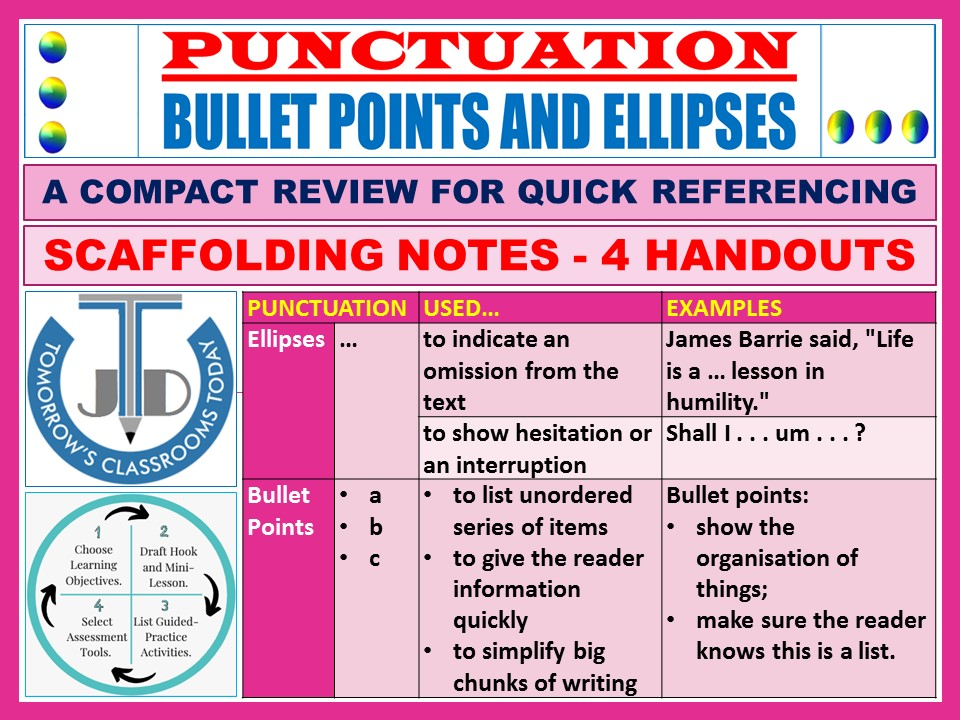 BULLET POINTS AND ELLIPSES: SCAFFOLDING NOTES - 4 HANDOUTS