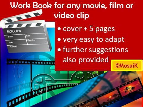 adaptable 'any movie' 5pg work book: any subject! English, French, German versions