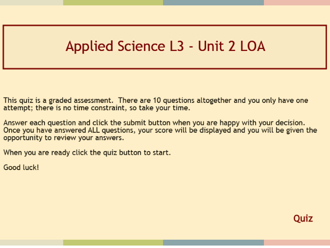 Set of resources for BTEC Level 3 Applied Science Learning Outcome A