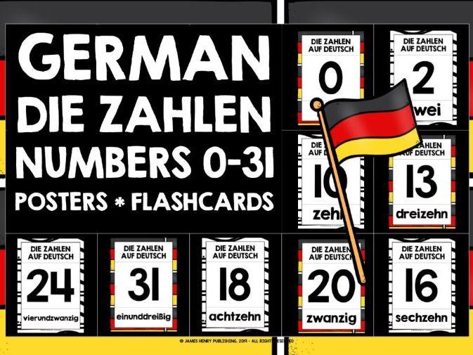 GERMAN NUMBERS 0-31 FLASHCARDS POSTERS