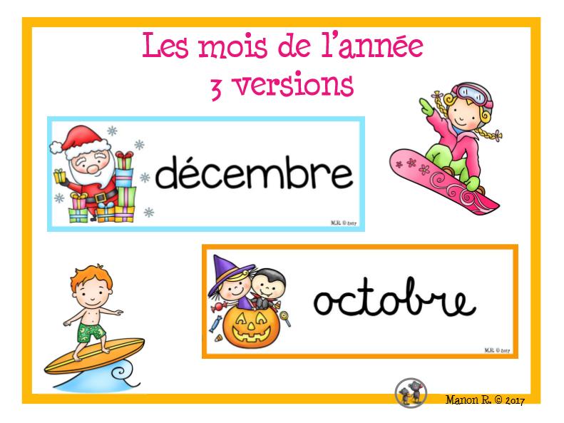 Les mois de l'année  (French months Of The Year)
