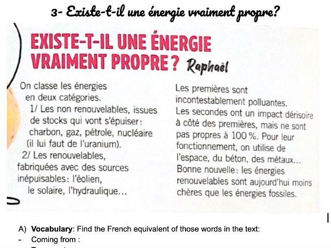 Environment Reading: 3- Existe-t-il une énergie vraiment propre?