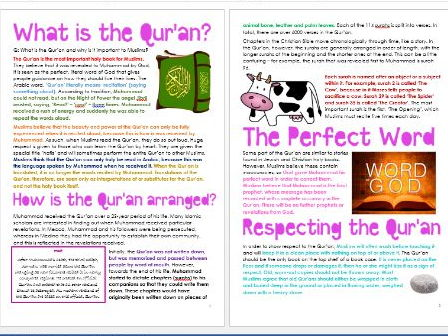 Islam: The Qur'an: Differentiated Information and Activity Sheets