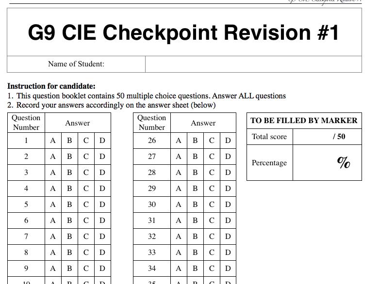 Grade 9 CIE Checkpoint Revision #2