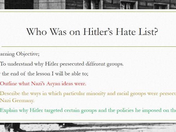 AQA Democracy and Dictatorship: Hitler's Hate List