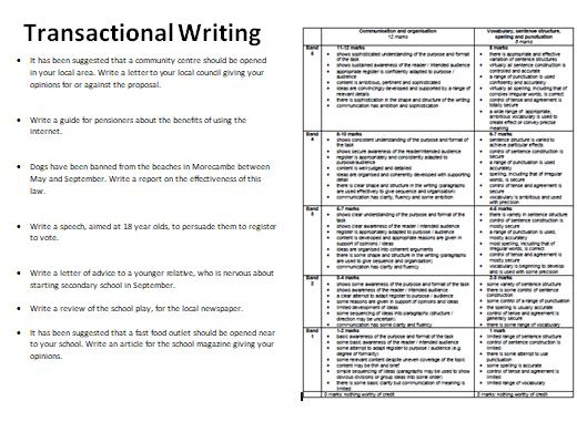 Transactional Writing Revision - EDUQAS