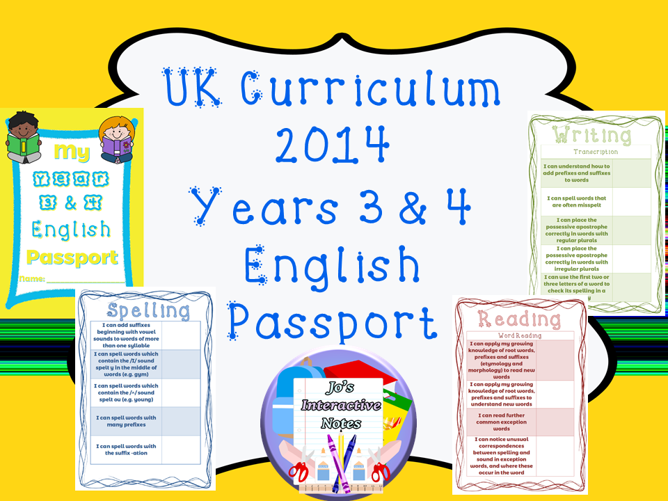 Lower Key Stage 2 (Years 3 & 4) National Curricululm English Passport