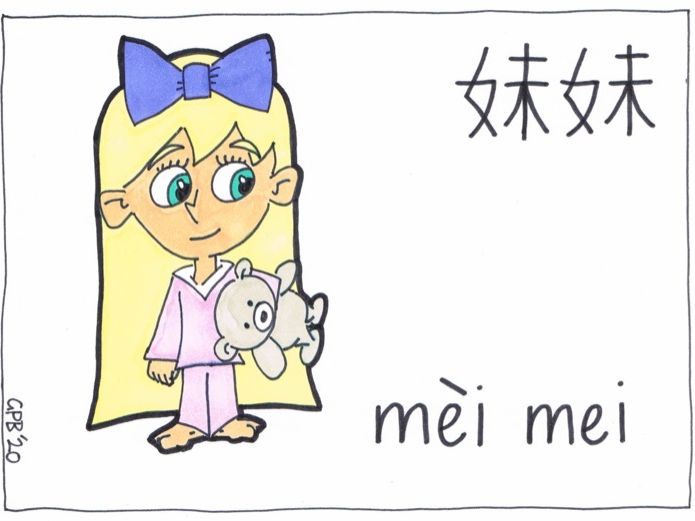 Chinese Flash Cards - My Family - Colour