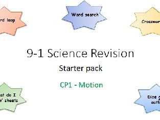 P1 Motion Revision starter pack Science 9-1