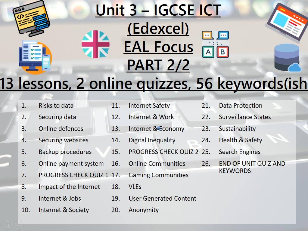ICT IGCSE Edexcel UNIT 3 - Operating Online (PART 2 - 13 lessons)