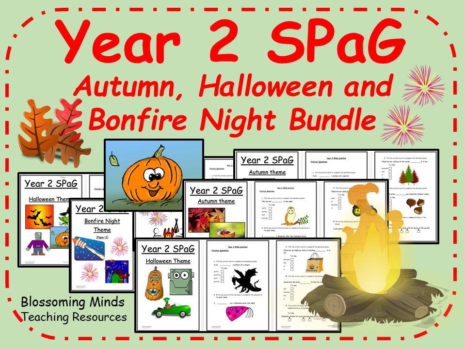 Autumn, Halloween and Bonfire Night themed SPaG (Year 2)