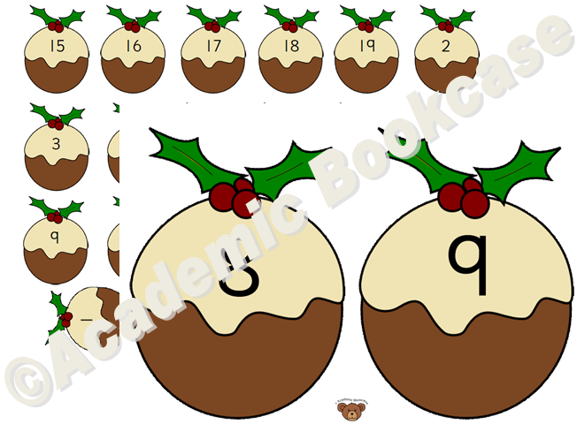 Numbers 0-20 on Christmas puddings