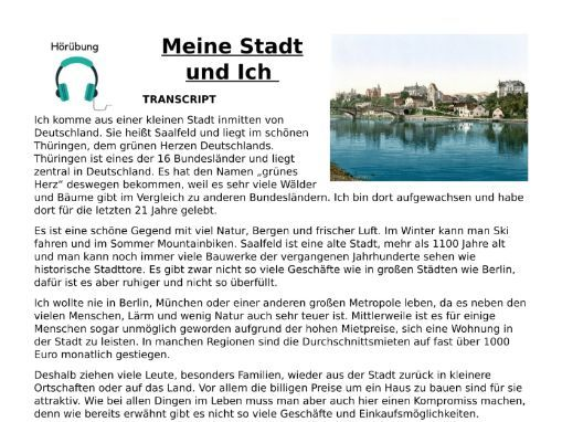 Meine Stadt - Listening MP3, Activities and Transcript