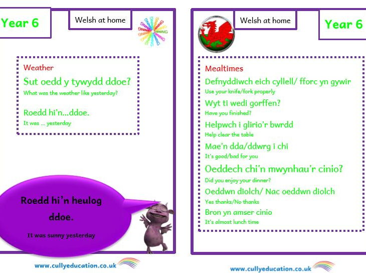 Welsh at home Booklets and Audio files for Parents - Year 6