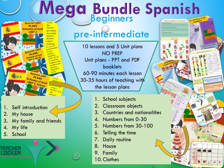 Spanish Mega bundle for beginner - 10 lessons with student Booklet and 5 unit plan