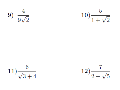 Rationalising the denominator worksheet no 2 (with solutions)