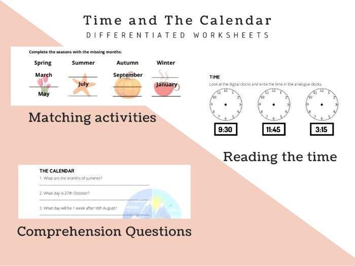 Time& Calendar differentiated worksheets