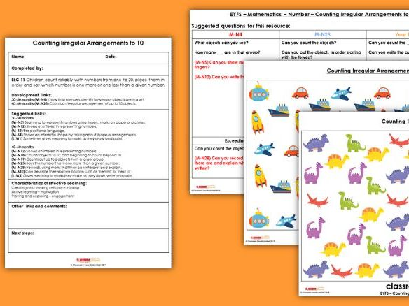 EYFS Maths Counting Irregular Arrangements (to 10) Planning, Resources & Observation Pack