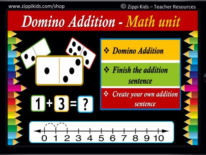 Domino Addition to 10 | Missing Addend | Virtual - 34 Google Slides/PowerPoint
