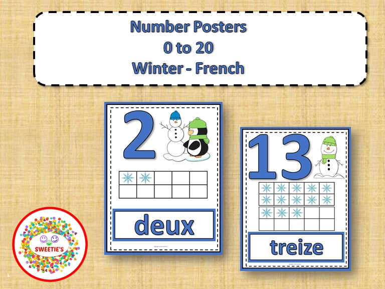 Number Anchor Charts 0 to 20 with Ten Frames - Winter - French - Les Nombres