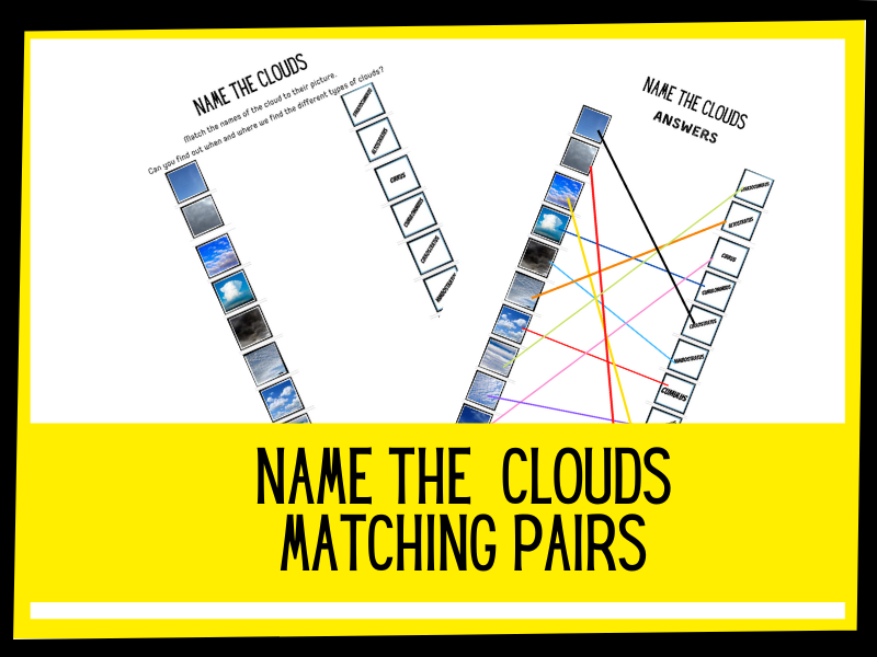 Name the clouds matching pairs game | KS2 primary science
