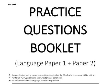 Practice Questions Booklet - AQA Language Papers