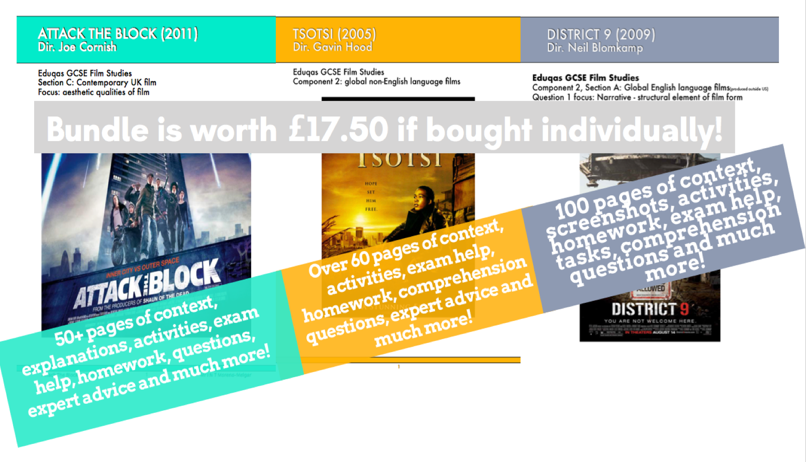 GCSE Film Studies: schemes of work for District 9, Tsotsi and Attack the Block.