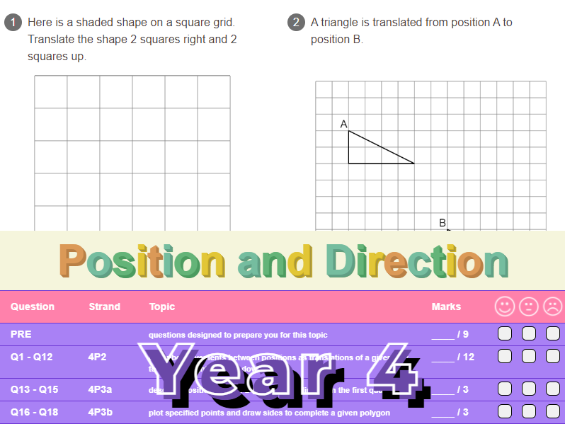Position and Direction Worksheet + Answers (KS2 - Year 4)