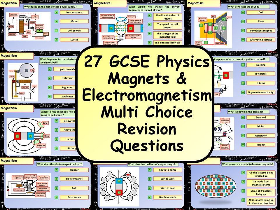 £1 ONLY! KS4 AQA GCSE Physics (Science) Magnets & Electromagnets Multiple Choice Revision Questions