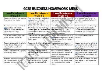 GCSE Homework Menu