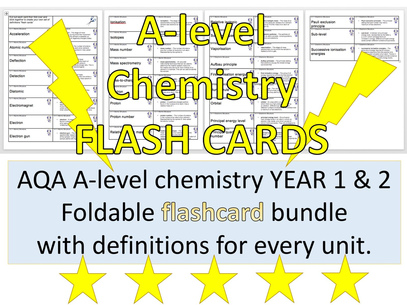 A-level chemistry definitions FLASHCARD bundle Year 1 and 2