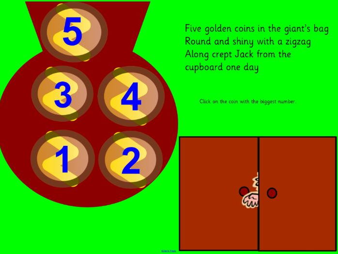 Jack and the Beanstalk five Golden Coins